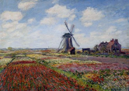 Monet, Claude: Tulip Fields with the Rijnsburg Windmill, Holland. Fine Art Print.  (003219)
